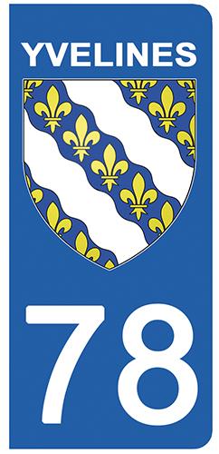 2 stickers pour plaque d\'immatriculation Auto, 78 blason des Yvelines