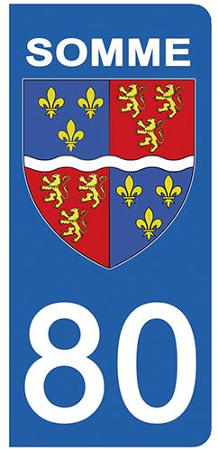 2 stickers pour plaque d\'immatriculation pour Auto, 80 blason de la Somme