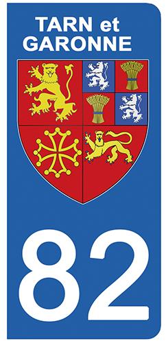 2 stickers pour plaque d\'immatriculation Auto, 82 blason du Tarn et Garonne