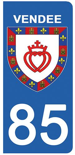 2 stickers pour plaque d\'immatriculation pour Auto, 85 blason de la Vendée