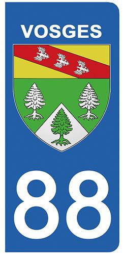 2 stickers pour plaque d\'immatriculation pour Auto, 88 blason des Vosges