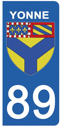 2 stickers pour plaque d\'immatriculation pour Auto, 89 blason de l\'Yonne