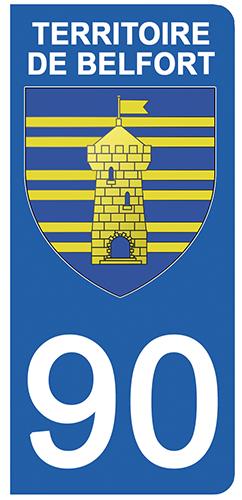 2 stickers pour plaque d\'immatriculation pour Auto, 90 blason du Territoire de Belfort
