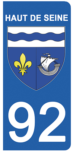 2 stickers pour plaque d\'immatriculation Auto, 92 blason des Hauts de Seine