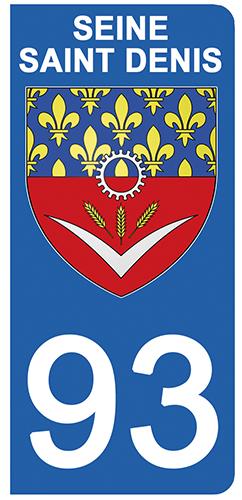 2 stickers pour plaque d\'immatriculation Auto, 93 blason de Seine Saint Denis