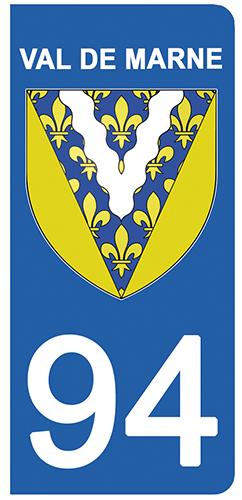 2 stickers pour plaque d\'immatriculation Auto, 94 blason du Val de Marne