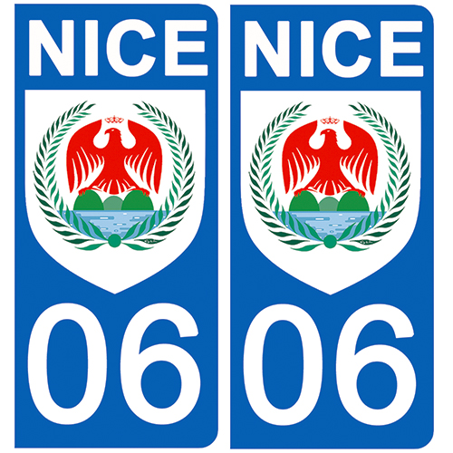 2 stickers pour plaque d\'immatriculation Auto, 06 Nice, Flat Blason