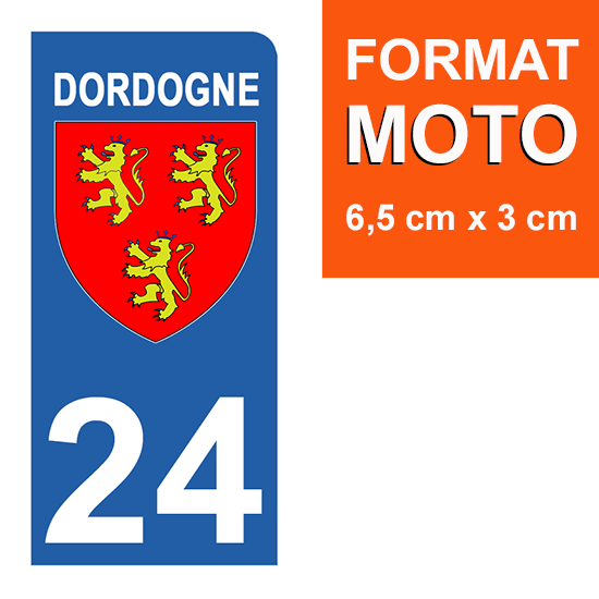 1 sticker pour plaque d\'immatriculation MOTO , 24 Dordogne