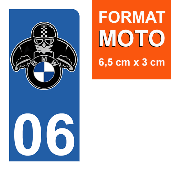 1 sticker pour plaque d\'immatriculation MOTO , 06 Alpes Maritime, BMW