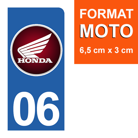 1 sticker pour plaque d\'immatriculation MOTO , 06, Alpes Maritime, Honda
