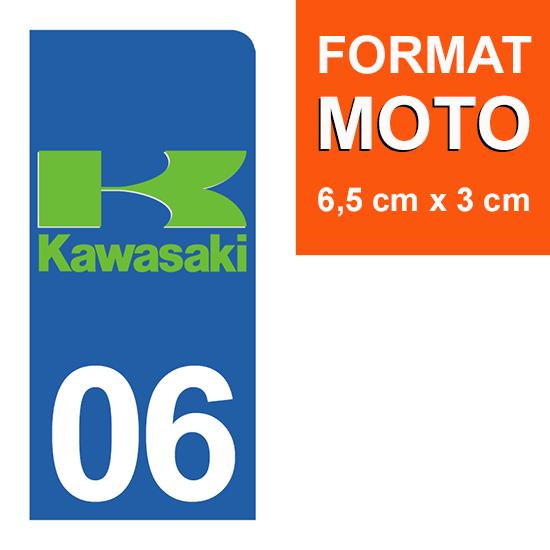 1 sticker pour plaque d\'immatriculation MOTO , 06, Alpes Maritime, Kawasaki