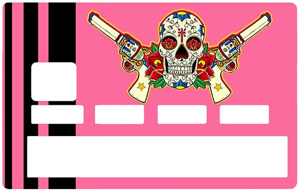 Sticker pour carte bancaire, Catarina Calavera, la santa muorte, pink & black,