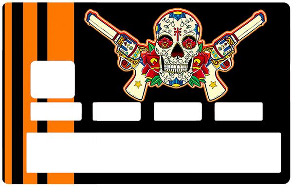 Sticker pour carte bancaire, Catarina Calavera, la santa muorte, black & orange