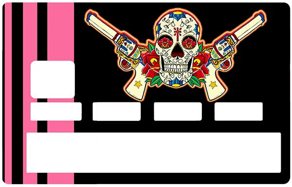 Sticker pour carte bancaire, Catarina Calavera, la santa muorte, black & pink
