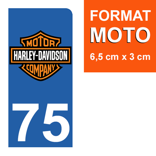 1 sticker pour plaque d\'immatriculation MOTO , 75 Paris, Harley Davidson