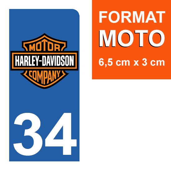 1 sticker pour plaque d\'immatriculation MOTO , 34 Herault, Harley Davidson