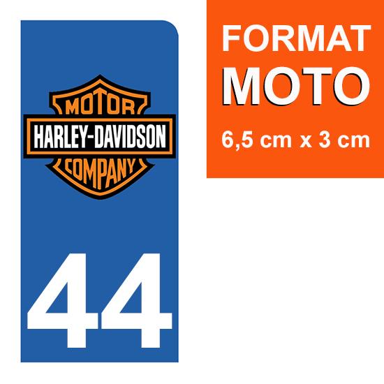 1 sticker pour plaque d\'immatriculation MOTO , 44 Loire-Atlantique, Harley Davidson