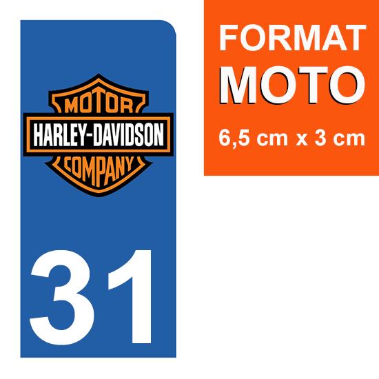1 sticker pour plaque d\'immatriculation MOTO , 31 Haute Garonne, Harley Davidson