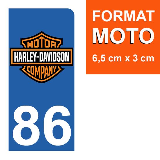 1 sticker pour plaque d\'immatriculation MOTO , 86 Vienne, Harley Davidson