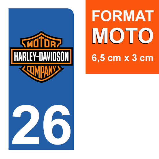 1 sticker pour plaque d\'immatriculation MOTO , 26 Drôme, V-TWIN