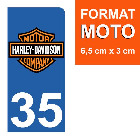 1 sticker pour plaque d\'immatriculation MOTO , 35 ILLE-ET-VILAINE, Harley Davidson