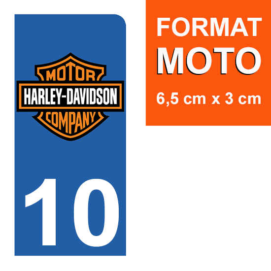 1 sticker pour plaque d\'immatriculation MOTO , 10 Aube, Harley Davidson