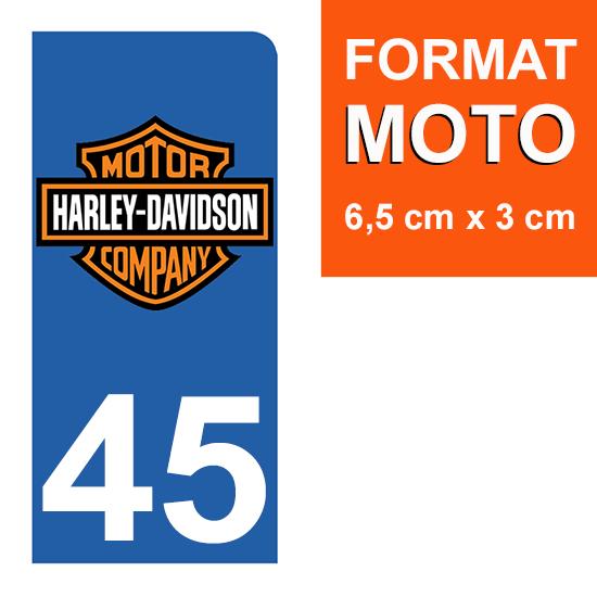 1 sticker pour plaque d\'immatriculation MOTO , 45 Loiret, Harley Davidson