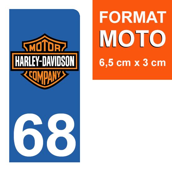 1 sticker pour plaque d\'immatriculation MOTO , 68 Haut-Rhin, Harley Davidson