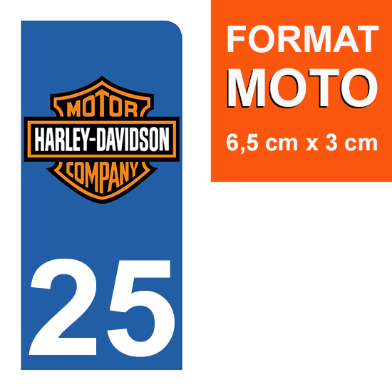 1 sticker pour plaque d\'immatriculation MOTO , 25 Doubs, Harley Davidson