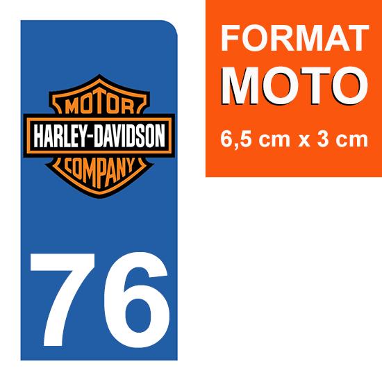 1 sticker pour plaque d\'immatriculation MOTO , 76 Seine-Maritime, Harley Davidson