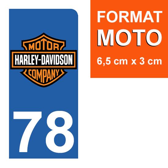 1 sticker pour plaque d\'immatriculation MOTO , 78 Yvelines, Harley Davidson
