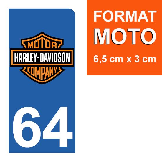 1 sticker pour plaque d\'immatriculation MOTO , 64 Pyrénées-Atlantiques, Harley Davidson