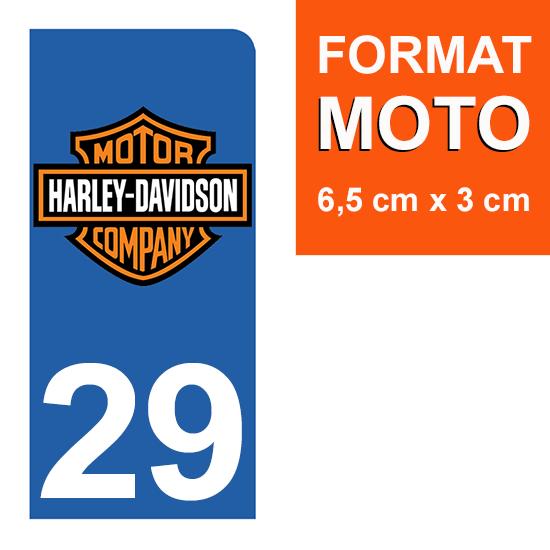 1 sticker pour plaque d\'immatriculation MOTO , 29 Finistere, Harley Davidson