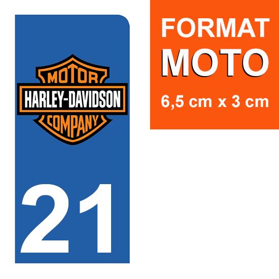 1 sticker pour plaque d\'immatriculation MOTO , 21 Côte d\'or, Harley Davidson