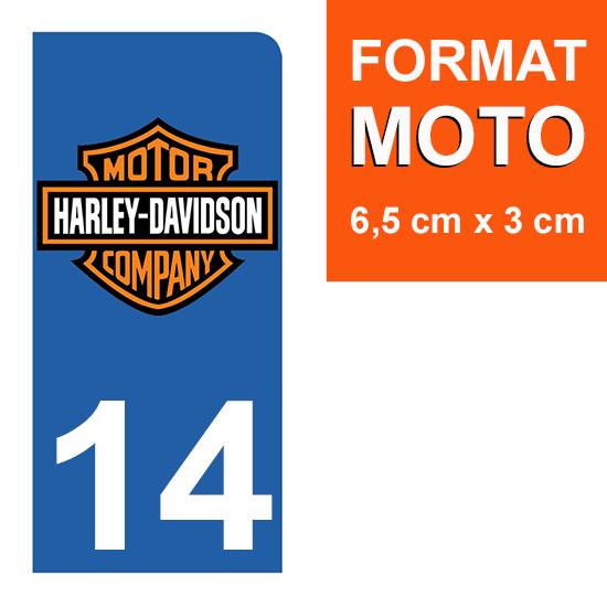 1 sticker pour plaque d\'immatriculation MOTO , 14 Calvados, Harley Davidson