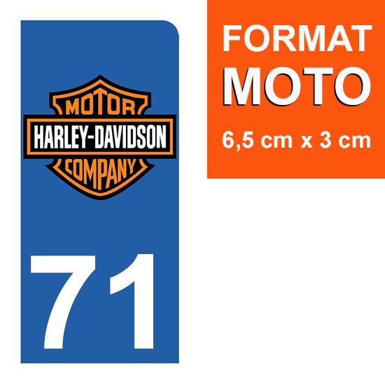 1 sticker pour plaque d\'immatriculation MOTO , 71 Saône-et-Loire, Harley Davidson
