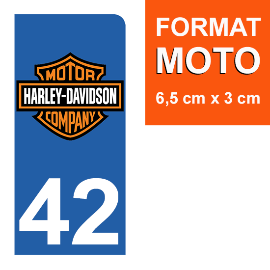 1 sticker pour plaque d\'immatriculation MOTO , 42 Loire, Harley Davidson