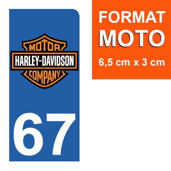 1 sticker pour plaque d\'immatriculation MOTO , 67 Bas-Rhin, Harley Davidson