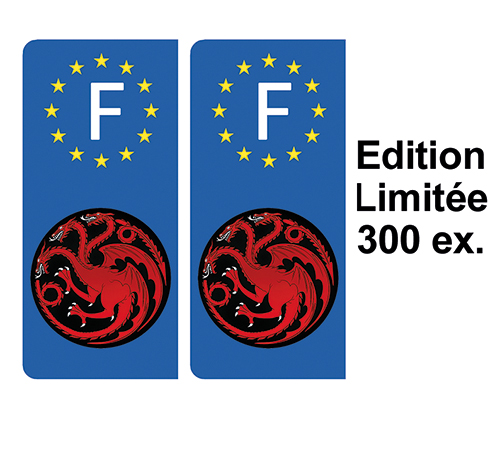 2 stickers pour plaque d\'immatriculation, Dragons Targaryen, Edition limitée 300 ex.