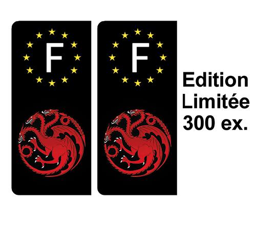 2 stickers pour plaque d\'immatriculation noire, Dragons Targaryen Edition limitée 300 ex.