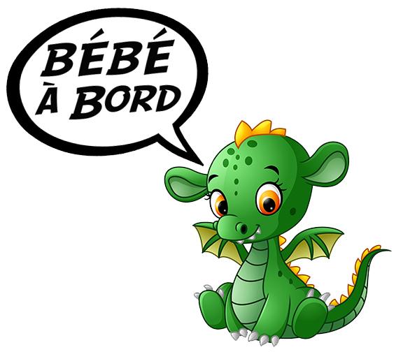 Sticker Bébé à bord ! Bébé Dragon Mignon