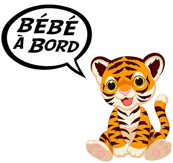 Sticker Bébé à bord ! Bébé tigre