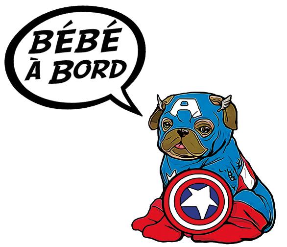 Sticker Bébé à bord ! Captain Americarlin