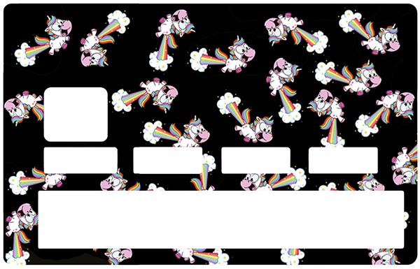 Sticker pour carte bancaire, les Licornes qui pêtent !