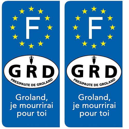 2 stickers pour plaque immatriculation Auto, Presipauté de Groland « Groland, je mourrirai pour toi. »