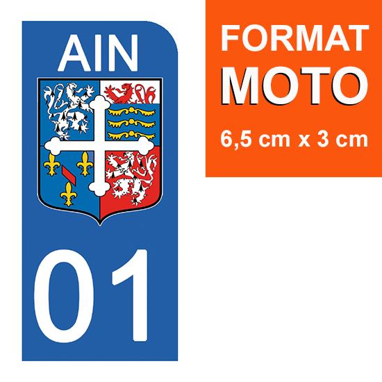 1 sticker pour plaque d\'immatriculation MOTO , 01 AIN