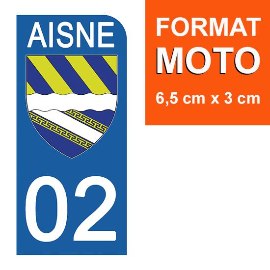 1 sticker pour plaque d\'immatriculation MOTO , 02 AISNE