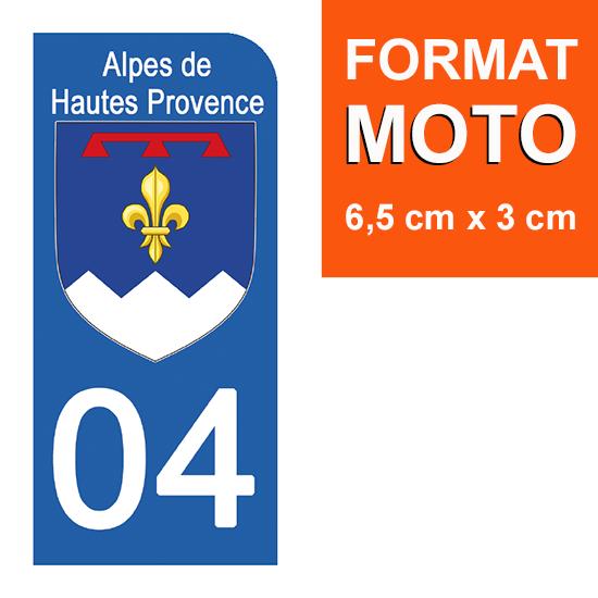 1 sticker pour plaque d\'immatriculation MOTO , 04 ALPES DE HAUTES PROVENCE