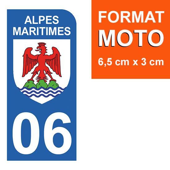 1 sticker pour plaque d\'immatriculation MOTO , 06 ALPES MARITIMES