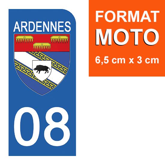 1 sticker pour plaque d\'immatriculation MOTO , 08 ARDENNES